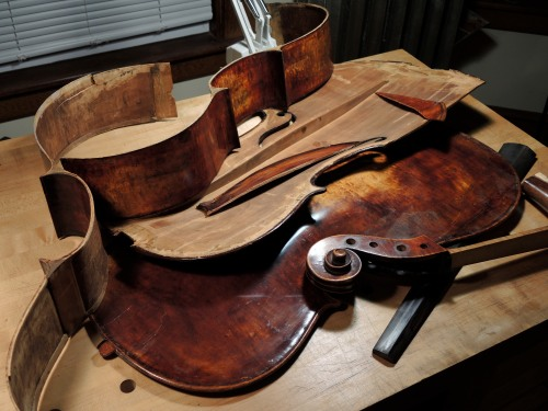 Cello in pieces to be assembled